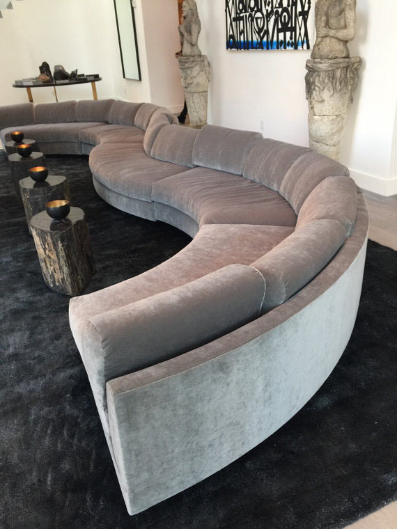 20 Foot Long Grey Gray Modern Velvet Circle Sectional Sofa