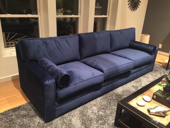 Modern indigo blue high pile velvet sofa 8 ft